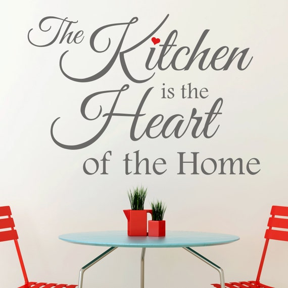 The Kitchen is the Heart of the Home Quote with Red Heart Vinyl Wall Art Sticker Decal Kitchen Wall Decor