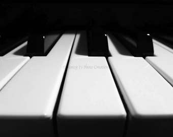 Black and White Photography - Piano Art  - Keyboard Photo -  Gift for Music Lover - Minimalist Wall Art Percussion Instrument Geometric fPOE