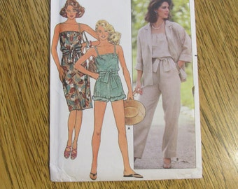 1990s Off the Shoulder Romper / Short Jumpsuit, Pull On Dress & Cover Up Jacket - Size (14 - 16 - 18) - UNCUT Sewing Pattern Butterick 6553