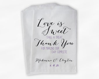 Love Is Sweet Our Day Complete Wedding Candy Buffet Treat Bags - Handwritten Favor Bags in Purple and Black - Custom Paper Bags (0169)