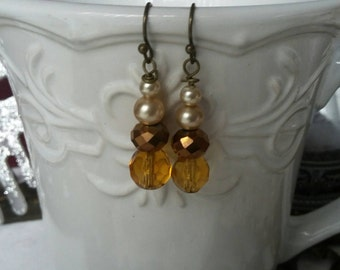 SUMMER 50%OFF SALE/Antique Edwardian Amber Glass & Pearl Earrings, Amber Earrings, Closing Sale