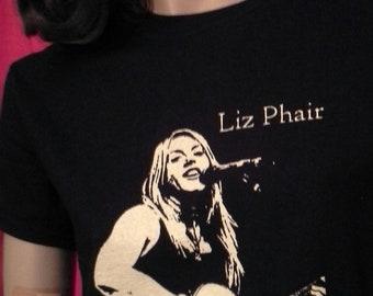 Unworn Retro LIZ PHAIR T-Shirt Black All-Cotton Hand-Screen Printed Exile in Guyville Lilith Fair Polyester Bride HWC Super Nova Fair