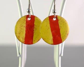 yellow & red small circle enamel earrings