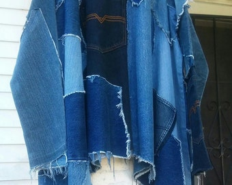Upcycled Repurpose Denim Patchwork Swing Jacket