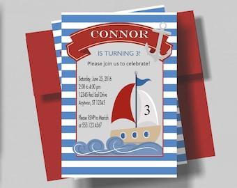 Sailboat Birthday Invitation for Boys | Nautical Birthday Party Invitation | Boys Birthday Invitation | Nautical Birthday Sailboat | Preppy