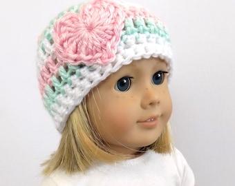 Striped Doll Hat, Crochet Heart Beanie, 18 Inch Doll Hat