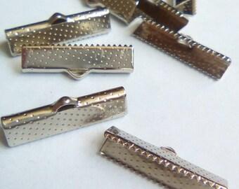 4 25x16mm dark silver metal Ribbon ties