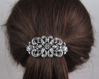 Vintage Victorian Oval Filigree French Barrette 80mm- Hair Accessories- Hair Clips- Silver Barrette- Filigree Barrette