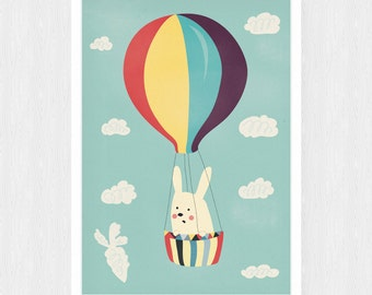 Bunny in the clouds- poster
