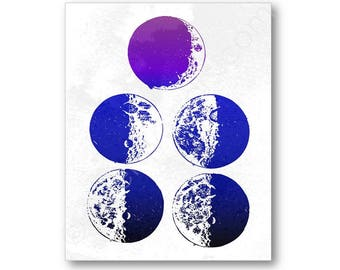 Moon Phases Art, Galileo Sketch Poster, Celestial Wall Art, Moon Wall Art, Moon Art Print, Moon Nursery Wall Art, Moon Canvas Art, Moon Gift