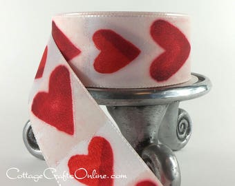 "Valentine Ribbon, 1"" wide, Red Heart Stamped Print Taffeta Ribbon - THREE YARDS - Offray ""Angelica"" Ribbon, Sewing Trim"