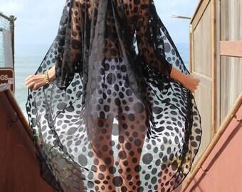 Black Dot Sheer Lace Kimono, Long Black Boho Kimono Cardigan
