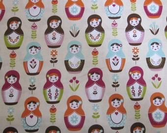 Riley Blake Little Matryoshka Main Cream Fabric Fat Quarter