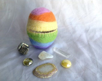 Felted fillable hollow wool Easter eggs with rocks, crystals, minerals and gem treasure