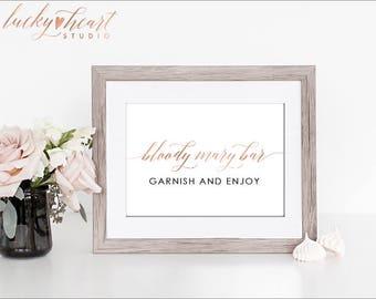 Wedding Bar Sign, Bloody Mary Bar Sign, Printable Bloody Mary Sign, Brunch Wedding Sign, ROSE Gold Wedding Template, DIY Wedding Sign 005R