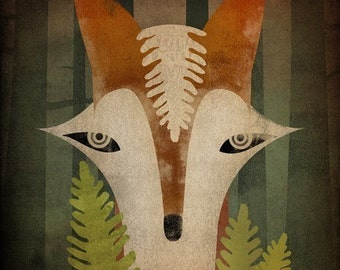 Fox in the Ferns GRAPHIC ART Illustration 7x7 giclee print SIGNED