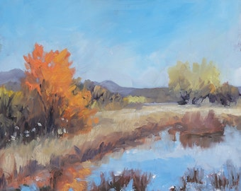 Bosque Midday - Bosque del Apache ~ New Mexico - Original Plein Air Oil Landscape Painting