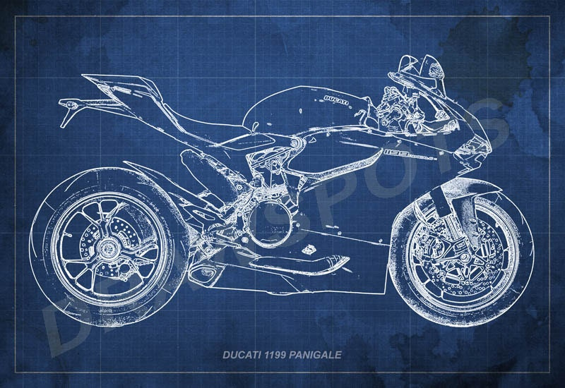 Ducati 1199 panigale blueprint art print 8x12in to 60x41in zoom malvernweather Choice Image