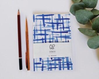 A6 Brush Strokes Notebook, Blue Ink Pattern Notebook, Journal, Small Notebook, A6 Notebook