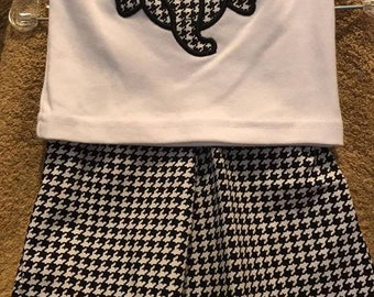 2 piece boys short set - Black/White Houndstooth - Perfect for the Alabama Crimson Tide Fan - Elephant