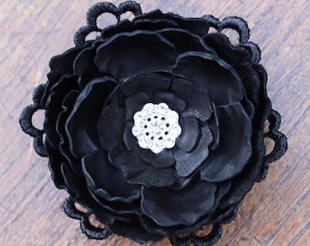 Black Leather & Guipure Lace Wedding Hair Flower. Rockabilly, Vintage, Bridal Fascinator, Bridal Flower with Diamante.