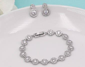 Bridal jewellery etsy earrings bracelet set silver crystal wedding bracelet bridesmaid bracelet cubic zirconia bracelet junglespirit Gallery
