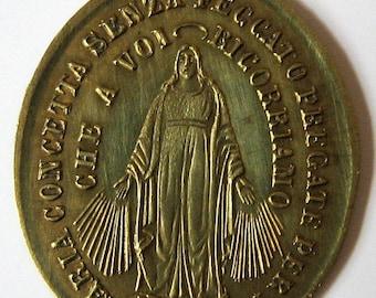 Antike Wunder Jungfrau Maria Papst Leone XIII Rom 1800er Jahren französische religiösen Medaille Charm-Anhänger