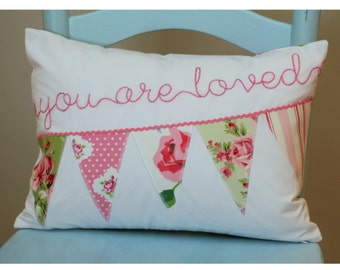 Shabby Chic Pillow, Personalized Pillow Cover, Vintage Roses Pillow, Valentine's Day Pillow, Pink and Green Rose Pillow Cover