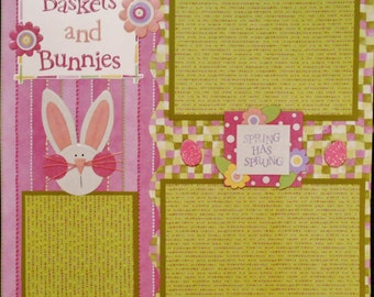 BASKETS AND BUNNIES 12x12 Premade Scrapbook Page Easter Spring Bunny  Eggs