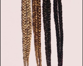 Pair of Single Long Hair Braids on elastic- CUSTOM MADE