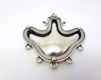 1 Connector for necklace baroque style ethnic 68 * 73mm old silver (USCA04)