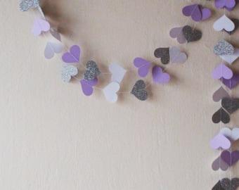 White Lilac Silver glitter heart paper garland , Wedding garland, Birthday decoration, nursery decor, Baby shower decor, Bridal shower