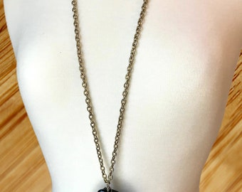 Long Silver Chain Necklace w/ Black Geode Pendant & Crystal Rhinestone - NoWeL Designs