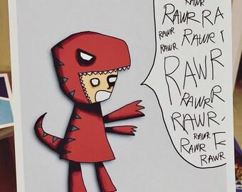 Dinosaur Illustration Art Print Dinorawr