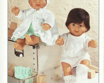 Pdf Dolls Coat,Dress and Sweater Knitting Pattern to fit 14 inch dolls.