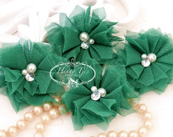 Elena TULLE : 4 pieces EMERALD Green Small Tulle Mesh Flowers With rhinestone Pearl Center Poof Flowers. Christmas Flowers. Hair accessories
