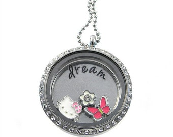 Pick 3 Charms /  Floating Locket  /  Memory Locket / Dream / Hand Stamped Jewelry