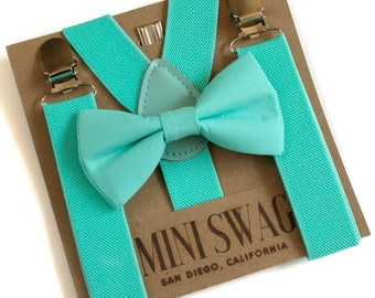 Turquoise Bow Tie and Suspender Set, Ring Bearer Outfit, Turquoise Wedding Suspenders, Boys Cake Smash Outfit, Beach Wedding Outfit Boy