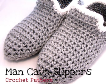Crochet Pattern Man Cave Slippers mens Loafers worsted weight easy basic Printable PDF Download