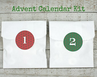 Advent calendar kit, Christmas countdown stickers and favor bags, green and red polka dots, advent calendar,  kids advent activity kit