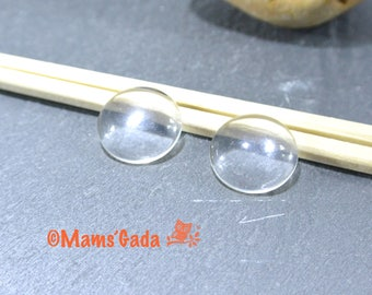 Set of 4 round Domes cabochon glass Ø 18 mm REF:8 / 10