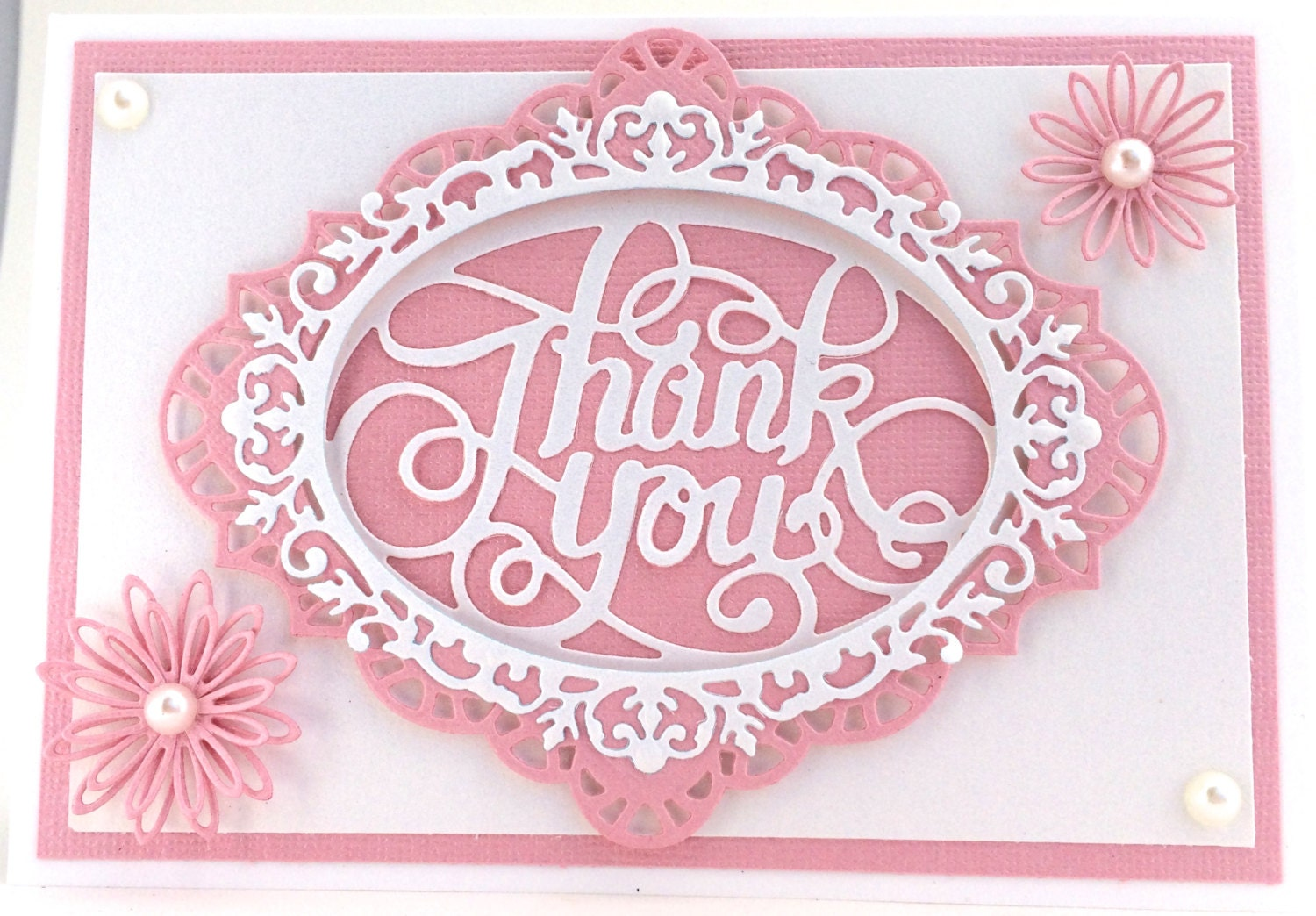 Pink thank you 3d flower card handmade card thank you card zoom izmirmasajfo