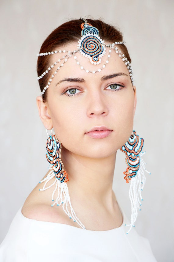White beaded head jewelry forehead headpiece beaded head