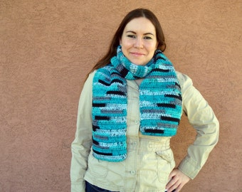 Agean Stripes Scarf in Blue, Grey, Black for Men or Women - Striped Scarf - Crochet Scarf - Hoooked Scarves - MADE TO ORDER