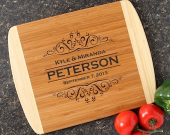 Personalized Wedding Gift Custom Engraved Cutting Board Personalized Cutting Board  Bamboo Cutting Boards Housewarming Gift-14 x 11 D7
