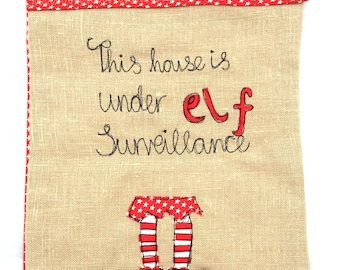 Elf surveillance freehand embroidered hanging banner flag