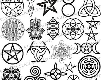 Ceramic decals, wicca ceramic decals, sepia decals, pentacle, pentagram,, wiccan symbols, ceramic decals glass pendants, pentagram decals