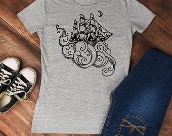 Clipper ship shirt--nautical shirt--whimsical boat t-shirt--clipper t-shirt