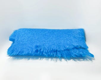 Bright Turquoise St Michaels Wool and Mohair Scarf Wrap Scotland Small Wool Throw
