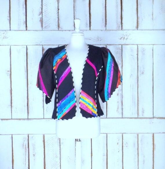 black designer striped blazer jacket Vintage style bolero cardigan Marie jacket colorful southwestern medium 0qXnnA5gwt